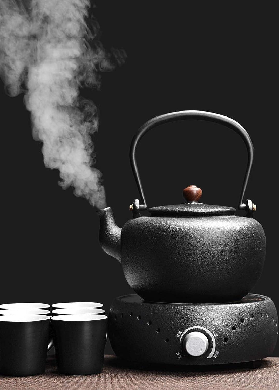 mejor oferta Tetera de cerámica Tetera de cerámica Juego de té té té Retro Japonés Negro Té Elaboración de la Estufa de té del hogar   1.5 kg   1000 W   18  21  21 cm  tienda en linea