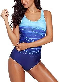 Exlura Women's Crisscross One Piece Swimsuit Athletic Training Swimwear Vintage Bathing Suit