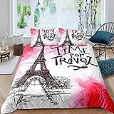 dsgsd Juego de Funda nórdica Impresa en 3D de 3 Piezas Nubes Rosadas Torre Eiffel Alfabeto Dibujo patrón 180x220cm Juego de Cama con Estampado 3D Funda nórdica Funda de Almohada Twin Queen King Size