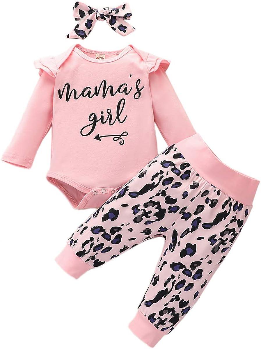 3pcs Newborn Baby Girls Infant Clothes Set Short Long Sleeve Ruffle Romper Bodysuit Floral Pants Headband Outfit