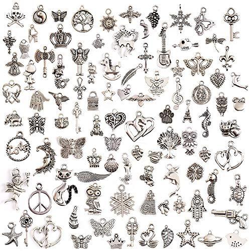 ZARRS 100 Pièces Breloques Argentées Mixte Charms Pendentifs,Accessoires de Bracelet Pendentif DIY Collier Bracelet Faire de l'artisanat