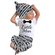 Raptop 3PC Toddler Baby Boys Clothes Set Romper Tops + Mustache Long Pants +Hat (0-3 Months, White)