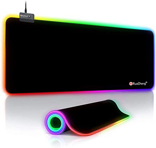 RuoCherg RGB Tapis de Souris Gaming, 800x300x4mm LED Mousepad avec 14 RGB Mode d'éclairage, Étanche Surface et Base e...