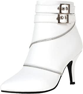 763fc6c568a Rongzhi Womens Ankle Boots Kitten Heels Pumps Stilettos Buckle Zip Formal  Dress Pointed Toe Booties White