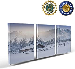 3 Panels Canvas Print Wall Art Snow Mountain Old Snowy Farmhouse Wall Decor Pictures for Living Room Modern Artwork Paintings Photographs Stretched and Framed Ready to Hang 24x28inch