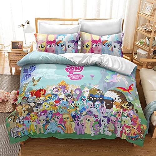 My Little Pony Tales - Juego de funda de edredón para cama infantil (8,135 x 200 cm), diseño de cuentos en 3D HD