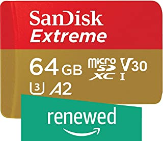 SanDisk 512GB Extreme microSDXC UHS-I Memory Card with Adapter - C10, U3, V30, 4K, A2, Micro SD - SDSQXA1-512G-GN6MA (Renewed)