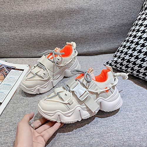 Zapatos De Mujer Verano Mujeres Transpirables En Malla De Gran Tamaño Deportes Zapatos Casuales Mujeres 40 Beige