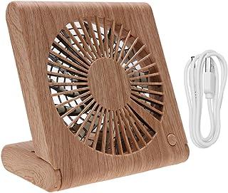 Wakauto Pequeño Ventilador de Escritorio USB Textura de Madera Mini Ventilador de Mesa de Verano Ventilador Personal Portátil de Poco Ruido para Viajes de Oficina en Casa