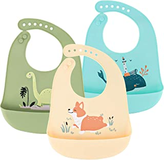 Baby Silicone Bibs Easily Clean Set of 3, Soft Adjustable Waterproof Toddler Silicone Bibs for Babies Girl and Boy (Dinosa...