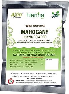 Allin Exporters Mahogany Henna Hair Color - 100% Organic and Chemical Free Henna for Hair Color Hair Care - (60g x 2 Packets)