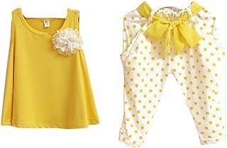 76227cb9f26cb Bonjouree Ensembles Pantalons et Haut Enfant Filles Gilet T-Shirt +  Pantalons Shorts Vêtements pour