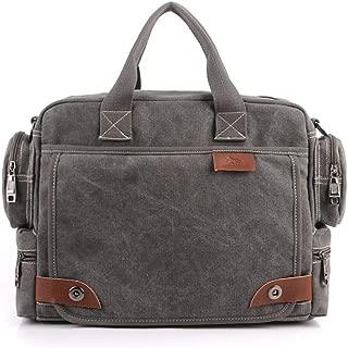 Men's Briefcase Bag Handbags Canvas Business Handbags Retro Large Quality Multifunction Vintage Shoulder Bag Brand Business Men (Color : Gray, Size : S)