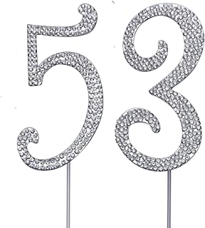 """MAGJUCHE Silver 53"""" Crystal Cake Topper, Number 53 Rhinestones 53rd Birthday Cake Topper, Men or Women Birthday or 53th An..."""