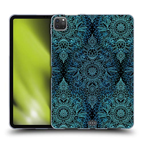 Official Micklyn Le Feuvre Black and Aqua Doodle Patterns Soft Gel Case Compatible for Apple iPad Pro 11 (2020)