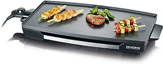 SEVERIN Gril de table (2.200 W, Revêtement antiadhésif XXL), Acier inoxydable/noir, KG 2397