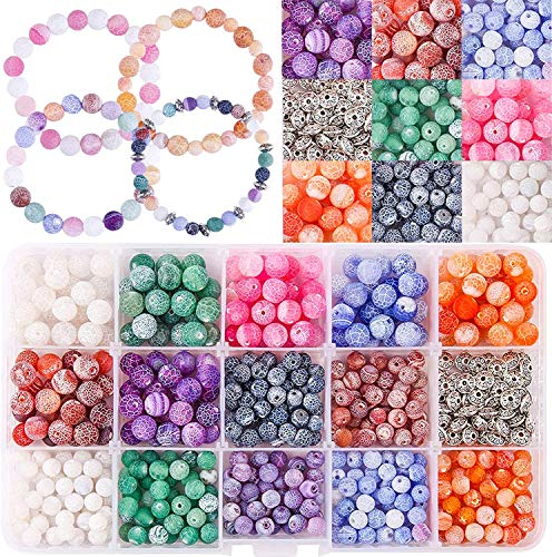 Fishdown 400pcs Agate Beads Assorted 6 mm/8 mm Multicolored Gemstone Crackle Beads, Frosted Agate Crackle Beads and Spacer Beads Beading Assortment for Necklace Jewelry Bracelet Making