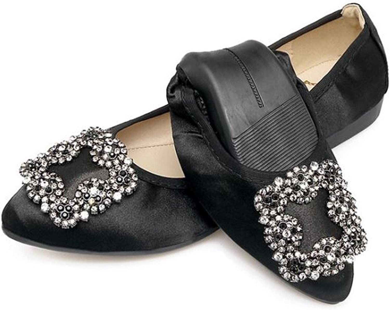 Dolwins Womens Foldable Rhinestone Pointed Toe Ballet Flats Comfort Slip On Flat shoes