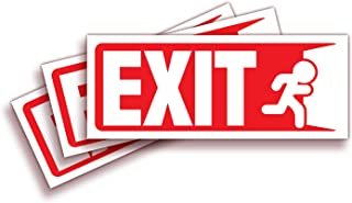 Exit Signs Stickers – 3 Pack 10x4 Inch – Premium Self-Adhesive Vinyl, Laminated for Ultimate UV, Weather, Scratch, Water a...