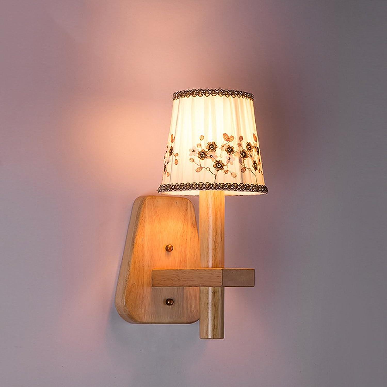 Pointhx Moderne Einfachheit Holz Tuch Wandleuchte Hohe Helligkeit E14 LED Wandleuchte Wandleuchte Laterne Schlafzimmer Studie Wohnzimmer Wand Leuchte