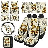 JEOCODY Sunflower Skull Car Front Seat Covers/Sun Visor/Floor Mats/Steering Wheel Pad/Seatbelt Pads/Conter Console Protector Durable Soft 13PCS Uniersal Fit