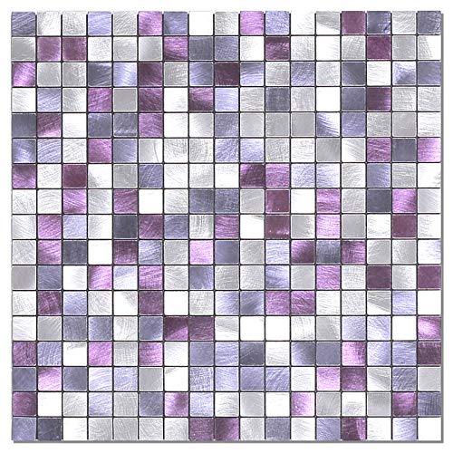 BeNice Peel and Stick Backsplash for Kitchen,Metal Small Tile Stickers for Bathroom Peel and Stick Tile DIY Tiles(5sheets) Lilac