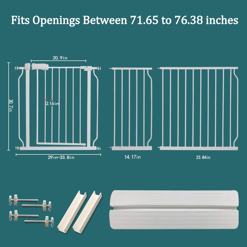 57.48-62.20//146-158cm ALLAIBB Extra Wide Pressure Mount Baby Gate Auto Close White Metal Child Dog Pet Safety Gates with Walk Through for Stairs,Doorways,Kitchen and Living Room 57.5-81.1