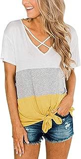 〓COOlCCI〓Women's Casual Summer Short Sleeve Solid Criss Cross Front V-Neck Criss Cross T-Shirt Tops