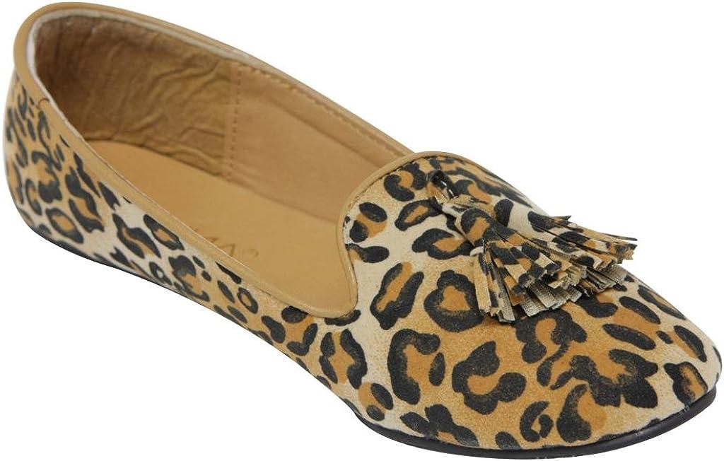 ANNA Lily44 Women's Flat Loafer Oxford Slip on Boat Tassel Fringe Suede Flat Shoes Black