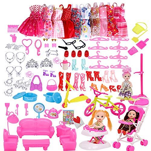 Dätenky Barbie Puppen Zubehör Set 118pcs Schuhe Röcke Brille Schmuckstücke Trockengestelle Ohrringe Accessories für die 11-Zoll-Barbie-Puppe (Keine Puppe)