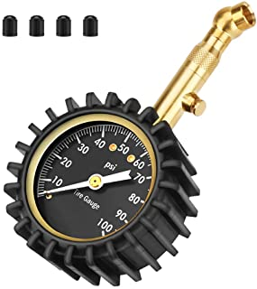 Number-one Car Tire Pressure Gauge (0-100 PSI), Heavy Duty Tire Gauge Accurate and Easy to Read Glow Dial, Low and High Air Pressure Gauge, Tire Gauge for Car and Trucks Tires