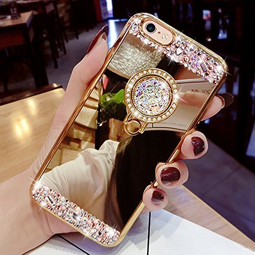 EMAXELERS Funda iPhone 8 4.7 Inch, Ligera Silicona Suave TPU Gel Bumper Cover de Protección Antideslizante [Anti-Rasguño] Caso para iPhone 7 / iPhone 8 4.7 Inch,Gold Mirror with Diamond Stand Holder