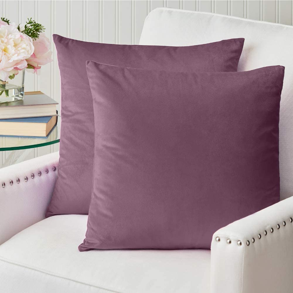 The Connecticut Home Company Velvet Throw Pillow Covers, 18x18 Set of 2, Soft Decorative Square Pillowcases, Luxury Home Décor Accent Cushion Cases for Livingroom Couch, Bedroom, Sofa Bed, Amethyst