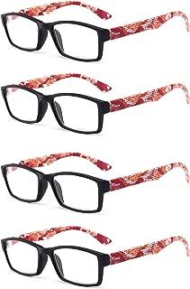 Aiweijia Unisex Comfortable Reading glasses 4 Pack Square frame Reading glasses