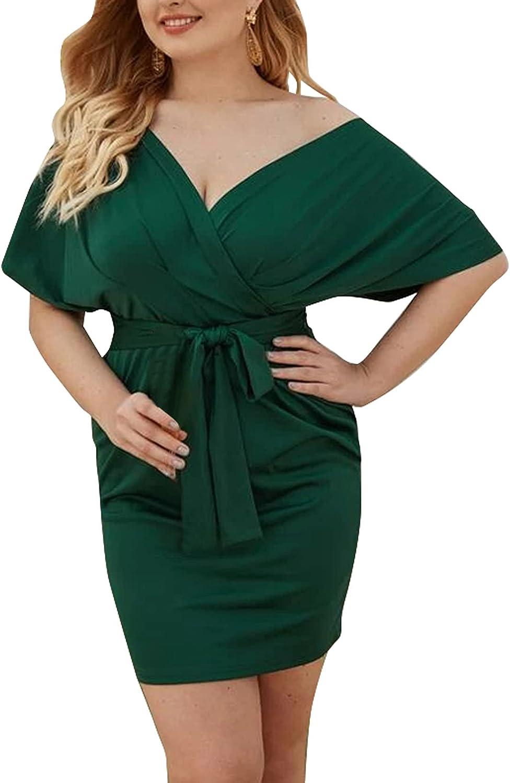 Ekaliy Womens Plus Size Short Sleeve Deep V Neck Bodycon Wrap Mini Dress with Belt