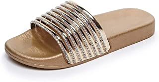 Women Slippers Summer Casual Slip with Soft and Thick (Color : Gold, Size : 39)