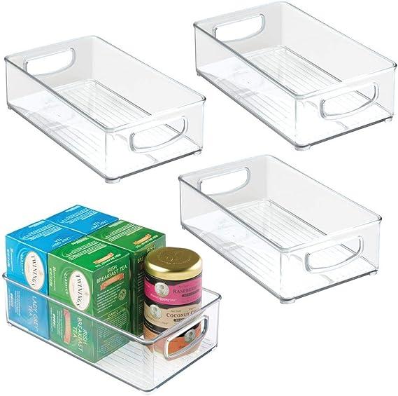 mDesign Kitchen Cabinet and Pantry Storage Organizer Bins - Pack of 4