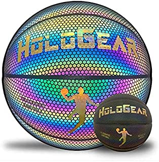 HoloGear HoloHoops Holographic Glowing Reflective Basketball - Light Up Camera Flash Holographic Glowing Basketballs - Hoop Gifts Toys for Kids Boys and Girls- Perfect Toy (Multi-Color Glow, Men's)