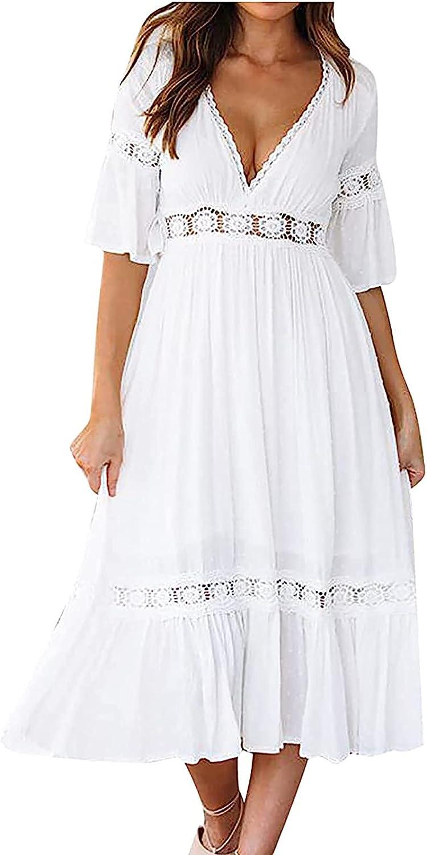 Women's Deep V Neck Loral Lace Wedding Dress Short Sleeve Bridesmaid Evening Maxi Dress Party Gown Wedding Dress