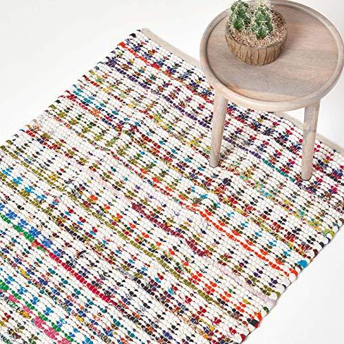 Homescapes Teppich, handgewebt aus 100% Baumwolle, 160 x 230 cm, Flickenteppich mit geometrischem Dreiecksmuster, bunt