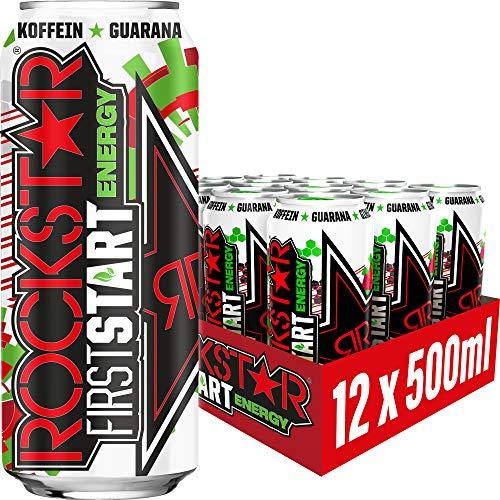 Rockstar Energy Drink First Start Sour Cherry – Koffeinhaltiges Erfrischungsgetränk für den Energie Kick am Morgen – 12 x 0,5l