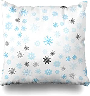 Ahawoso Throw Pillow Cover Square 20x20 Blue Seamless Reflect Cover for Christmas Beautiful Firework Pattern Abstract Textures Snowflakes Zippered Cushion Case Decorative Pillowcase Home Decor