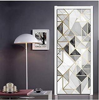 Motif de marbre étanche auto-adhésif 3D porte autocollants papier peint salon chambre porte Stickers muraux décor à la maison