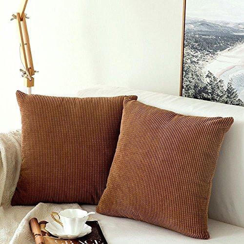 MIULEE 2er Set Granulat Kordsamt Soft Soild dekorative Platz Dekokissen Covers Set Kissen Tasche für Sofa Schlafzimmer Car 18x18 inch 45x45 cm