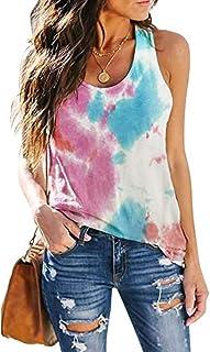Effeltch Women Tie-dye Gradient Printed Sleeveless Shirt Tank Loose Casual Tunic Tank Top