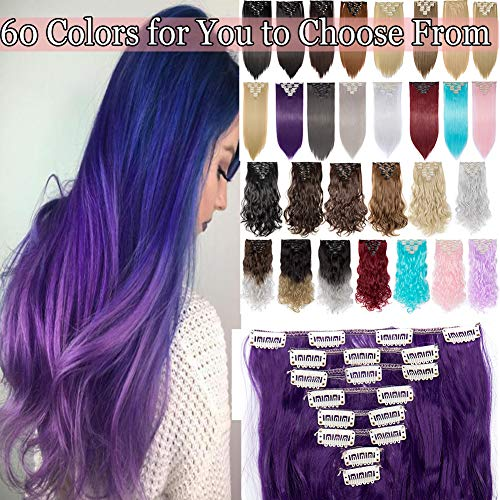 Clip in Hair Extensions 8 PCS 18 Clips 145G Thick Straight Curly Full Head Real Natural Synthetic Fibre Hairpiece 60 colors for Women Lady Girls(26 inch,purple blue-straight)