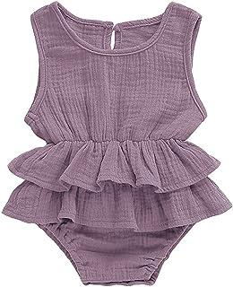 الوليد كيد الطفل فتاة الملابس أكمام رومبير اللباس القطن الكتان 1 قطعة الزي (Color : Gray, Kid Size : 24M)
