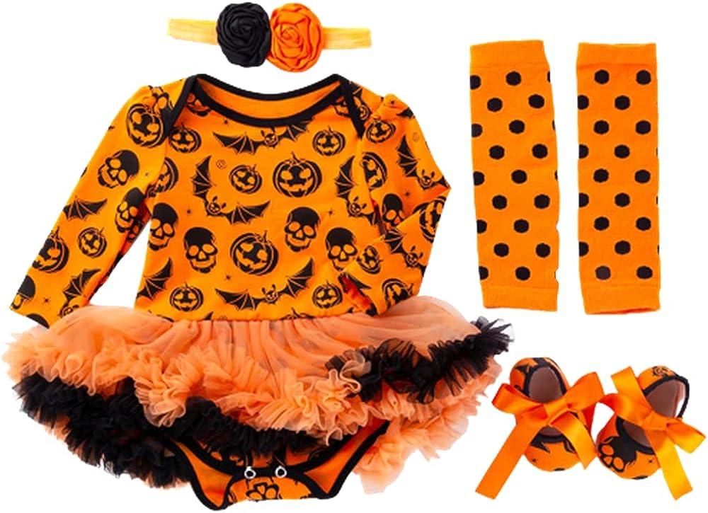 TMOYJPX Disfraces Niña Halloween Disfraz Mono Niño 0-24 Meses Invierno, Conjunto Ropa Bebe Niña, Mameluco de Falda+Banda de Pelo+Calcetines