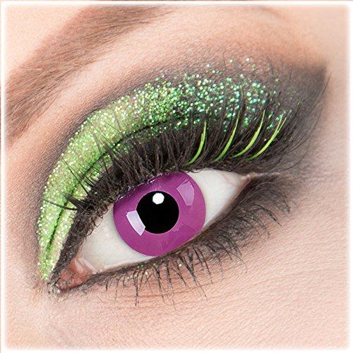 Farbige lila'Purple' Kontaktlinsen 1 Paar Crazy Fun Kontaktlinsen mit Kombilösung (60ml) + Behälter zu Fasching Karneval Halloween - Topqualität von'Giftauge' ohne Stärke