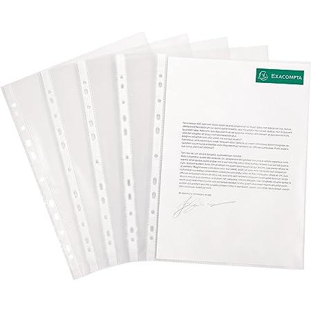 Exacompta - Réf. 5250E - Sachet de 50 pochettes perforées polypropylène lisse 6/100e - perforations universelles 11 trous - format à classer A4 - incolore